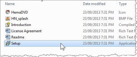 Setup program in folder