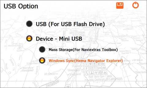 USB Option screen