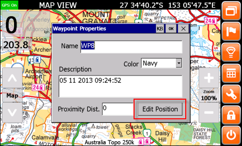 Waypoint Properties window
