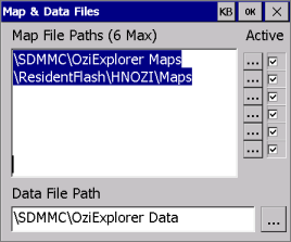 OziExplorer Map & Data Files settings