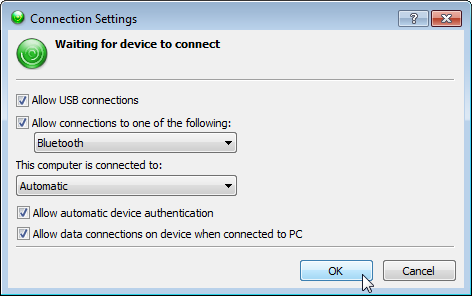 WMDC Connection settings