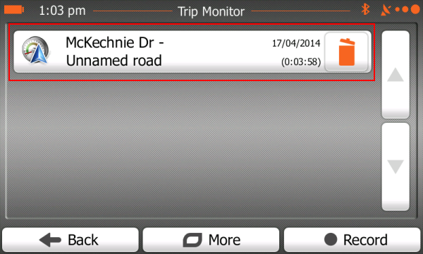 Trip Monitor screen