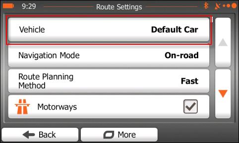 iGO Route Settings screen