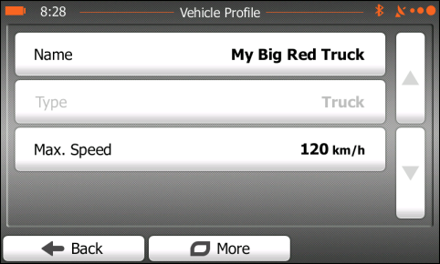 Vehicle Profile screen