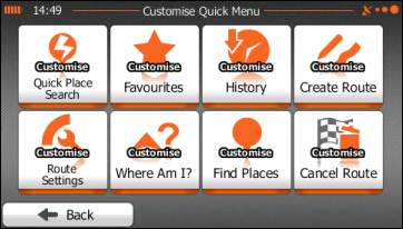 Customise Quick Menu screen