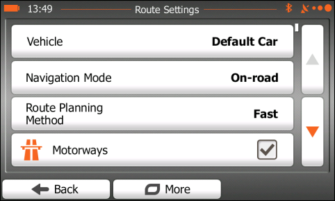 iGO settings - On-road mode