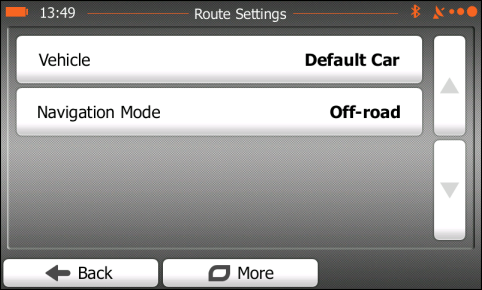 iGO Route settings - Off-road mode ON