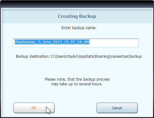 Creating Backup window